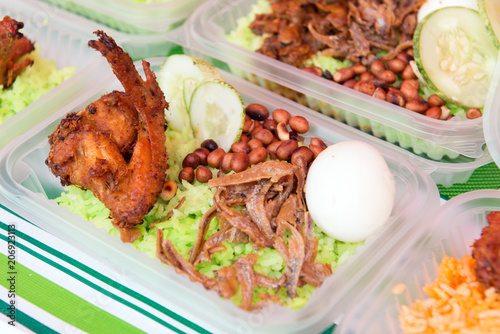 Photo  Nasi Lemak is a commonly found food in Malaysia, Brunei and Singapore