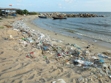 Gabage And Plastic From The Sea To Make Pollution And Dirty Beach