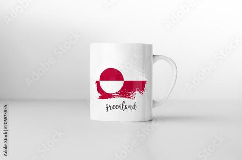 Fotografie, Obraz  Greenland flag souvenir mug on white background. 3D rendering.