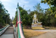 Wat Phra Bat Phu Phan, Khon Kaen DEC 09 2017:  Steep Steps  (luang-phor Phu Phan Kham, Buddha Sculpture) A View From Ubolratana Dam