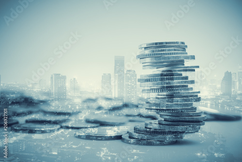 Photo sur Toile Amsterdam rows of coins for finance and business,Saving money and account finance bank business concept.