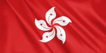 Hong Kong Flag Waving With The...