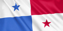 Panama Flag Waving With The Wind, Wide Format, 3D Illustration. 3D Rendering.