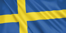 Sweden Flag Waving With The Wi...