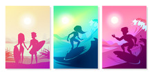 Surfers At Ocean Vector Illustration Of Boy And Girl Couple With Boards At Hawaii Beach. Silhouette Of Man And Woman Holding By Hands On Summer Surfing At Blue And Ultraviolet Sun Background