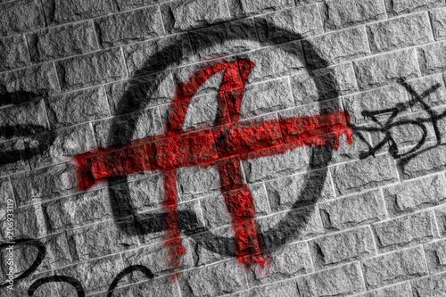Fotografie, Obraz  Anarchie Graffito an einer Steinwand