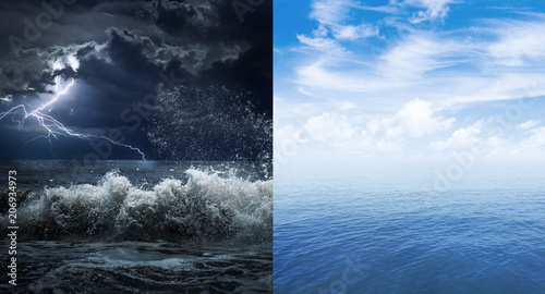 Poster Mer / Ocean stormy and calm sea or ocean surface