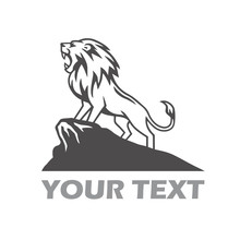 Lion Logo Roaring On The Mountain Hill