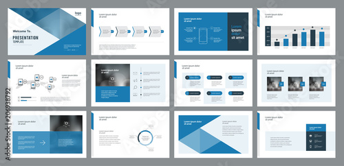 Fototapeta template presentation design and page layout design for brochure ,book , magazine,annual report and company profile , with info graphic elements design obraz