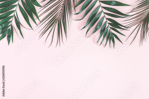 Tropical Palm Leaves On Pastel Pink Background Summer Concept Flat