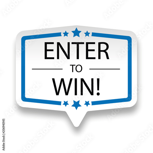 Fotografiet  enter to win web paper label badge on white