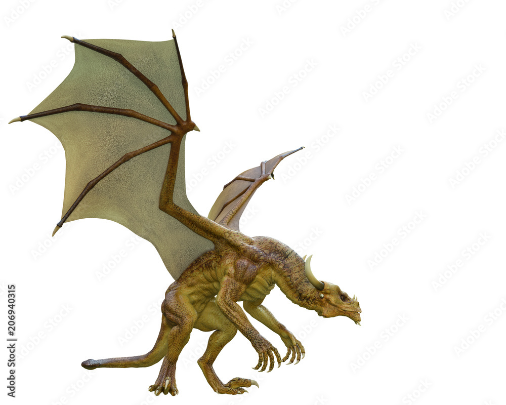 yellow dragon in a white background