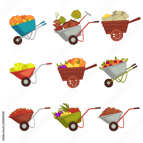 Tela Gardening wheelbarrow with vector harvest