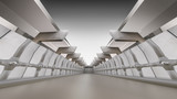 Fototapeta Perspektywa 3d - Abstract empty 3d interior background, white corridor