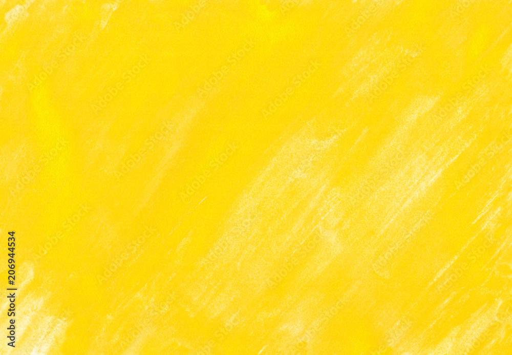 Fototapeta 黄色の水彩絵の具塗った色斑テクスチャ