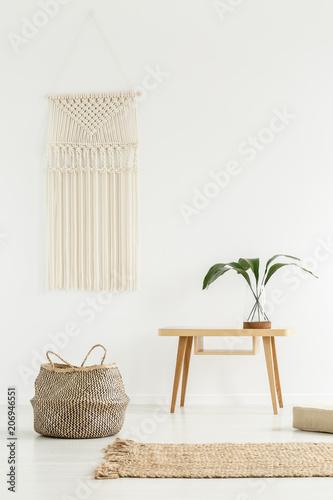 White boho interior Canvas Print