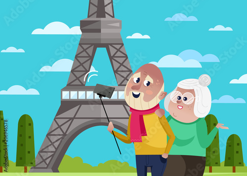 Photo Stands Turquoise Smiling old couple doing selfie on background of Eiffel tower in Paris. Active elderly concept with retired people around the world. Senior couple traveling by famous attractions vector illustration.