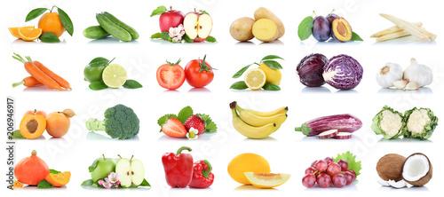 Poster Légumes frais Obst und Gemüse Früchte viele Apfel Tomaten Orangen Knoblauch Weintrauben Farben Freisteller freigestellt isoliert