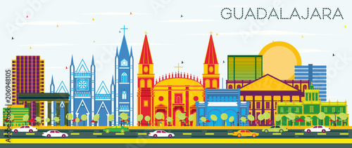 Guadalajara Mexico Skyline with Color Buildings and Blue Sky.