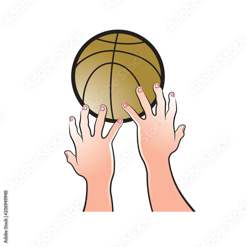 Isolated Two Hands Catching Basket Ball Vector Drawing Buy
