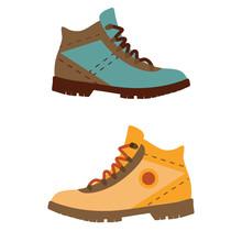 Tourist Hiking Boots Icon. Tre...