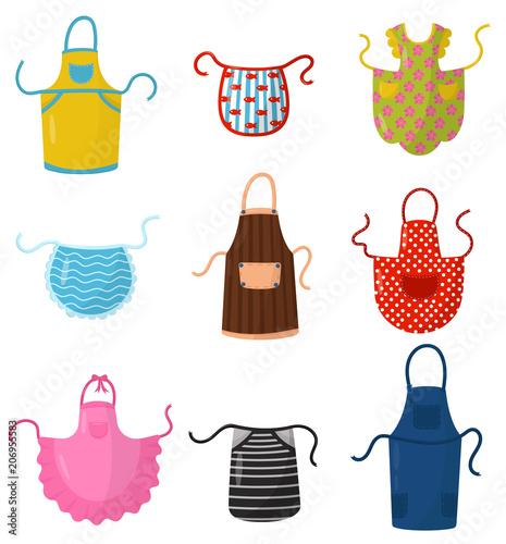 Fotografia Flat vector set of colorful kitchen aprons