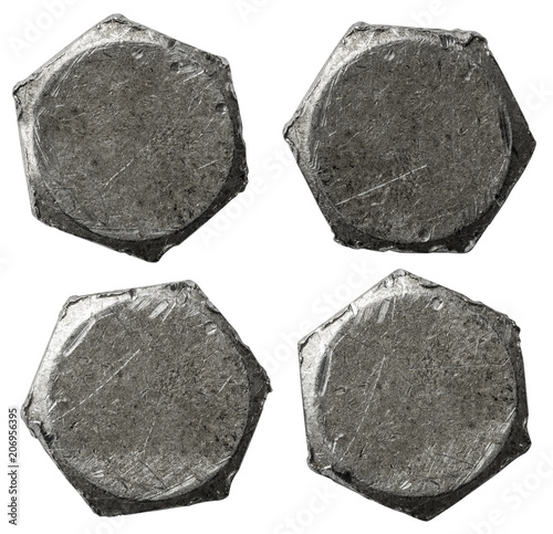 metal bolt heads set isolated on white background Wallpaper Mural