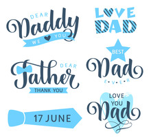Happy Fathers Day Lettering Gr...