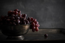 Red Grapes In Bowl