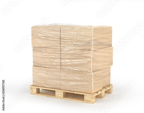 Fotografia Cardboard boxes wrapped polyethylene on wooden pallet isolated on white background