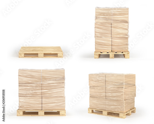 Fotografia Cardboard boxes wrapped polyethylene on wooden pallet isolated on white background