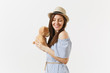 Young tender elegant charming woman dressed blue dress, cute hat hug cute toy teddy bear posing isolated on white background. People, sincere emotions, lifestyle concept. Advertising area. Copy space.
