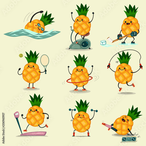 Cute Pineapple Take Exercise Eating Healthy And Fitness Cute Food