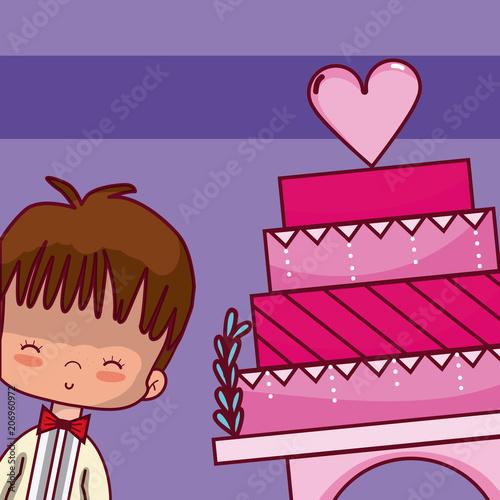 Wedding boyfriend with cake Poster