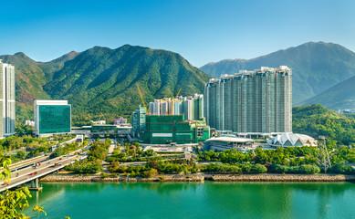 Pogled na četvrt Tung Chung u Hong Kongu na otoku Lantau