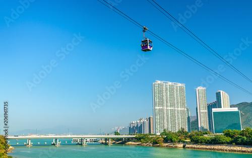 Cable car above Tung Chung Bay in Hong Kong on Lantau Island