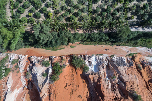 Red Canyon and The Fairy Spring aerial view, Mui Ne, Vietnam
