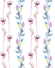 Seamless Pattern With Watercolor Violet Flowers And Pink Foliage.