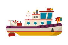 Vector Sea Or River Towboat Pu...