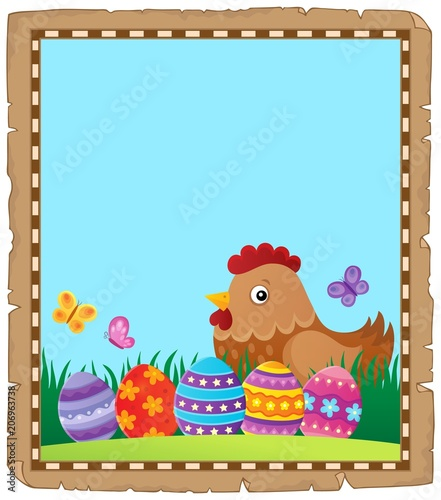 Poster Voor kinderen Parchment with Easter hen and eggs