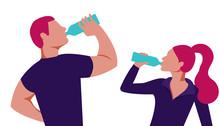 People Drink Clean Water. Vect...