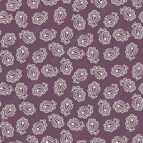 Cotton fabric Paisley burgundy simple indian pattern. Batik motif print seamless design for fabric and textile.