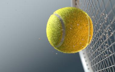 Fototapeta Tennis Ball Striking Racqet In Slow Motion