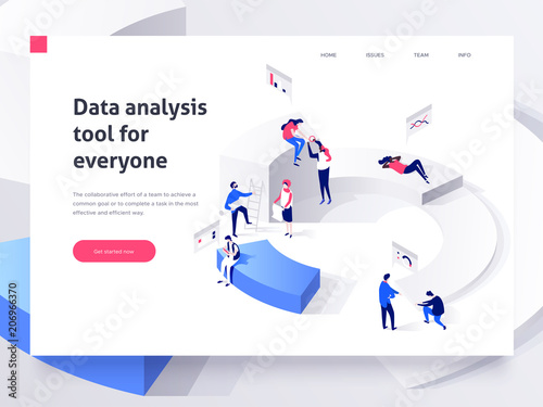 People in a team build a pie chart and interact with graphs. Landing page template. 3d isometric illustration