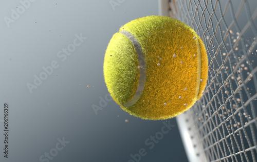 Fotografía Tennis Ball Striking Racqet In Slow Motion