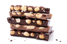 Pieces Of Chocolate With Nuts, Close-up Delicacy Isolated On White