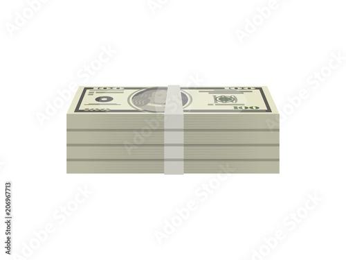 Photo Bundles of paper money isolated isometric icon