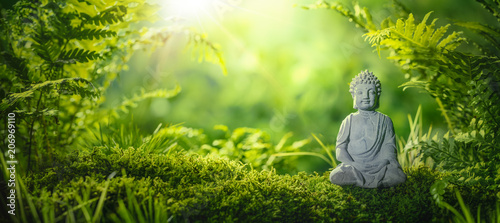 Ingelijste posters Zen Buddha statu in natural background