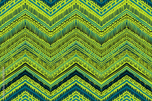 Foto auf AluDibond Boho-Stil Abstract Ikat and boho style handcraft fabric pattern. Traditional Ethnic design for clothing and textile background, carpet or wallpaper