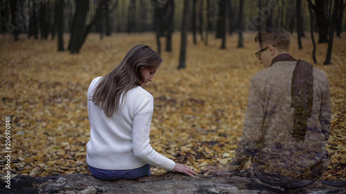 Girl returning to place of dates and feeling spirit of presence of her beloved